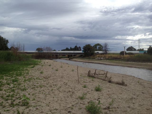 Usual creek bed exposed due to freeway works