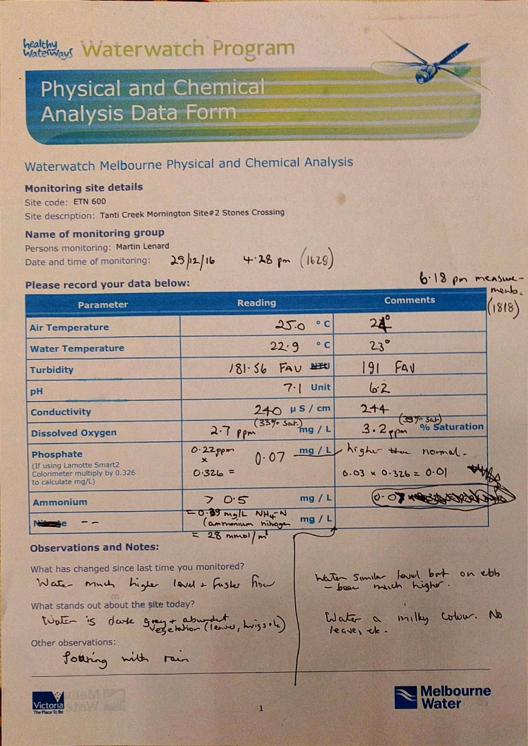 Sheet contains both 16.28 and 18.18 readings.  No Pg2 completed