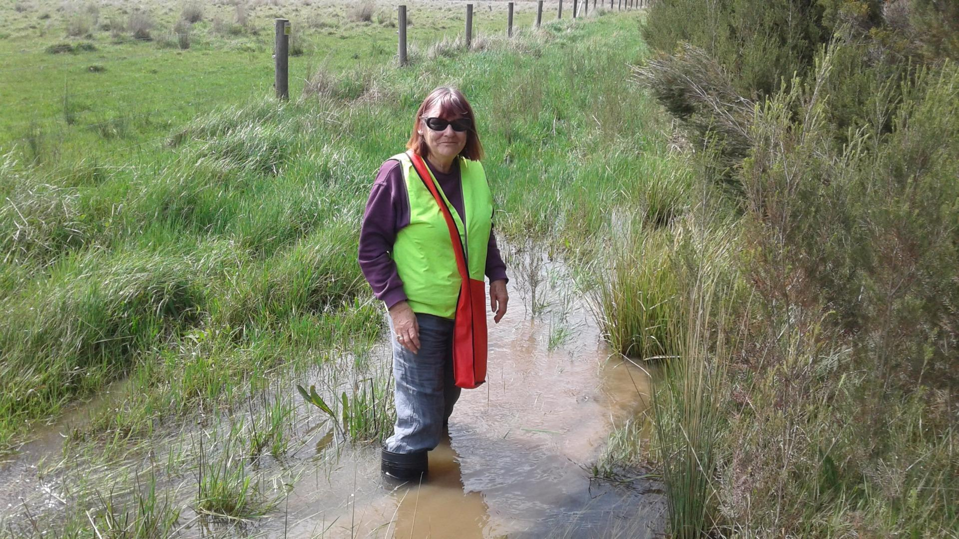 Christine standing in the water flowing over the track to sampling site