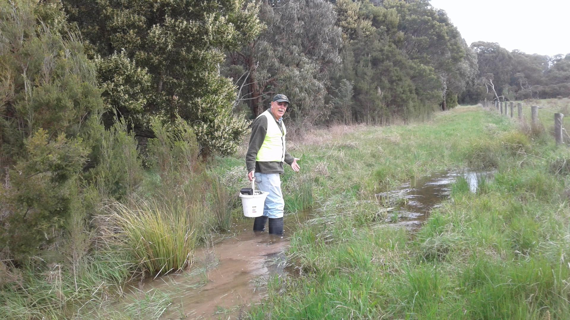 Chris walking through the water flowing over the track. Chris is 6ft 4 so you can see how deep the water is