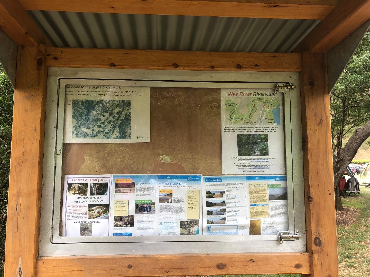 Noticeboard at the entrance to the Big 4 caravan park- with estuary watch  and Wye riverwalk information
