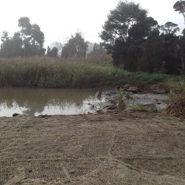 Dam in the creek reinstated after freeway works