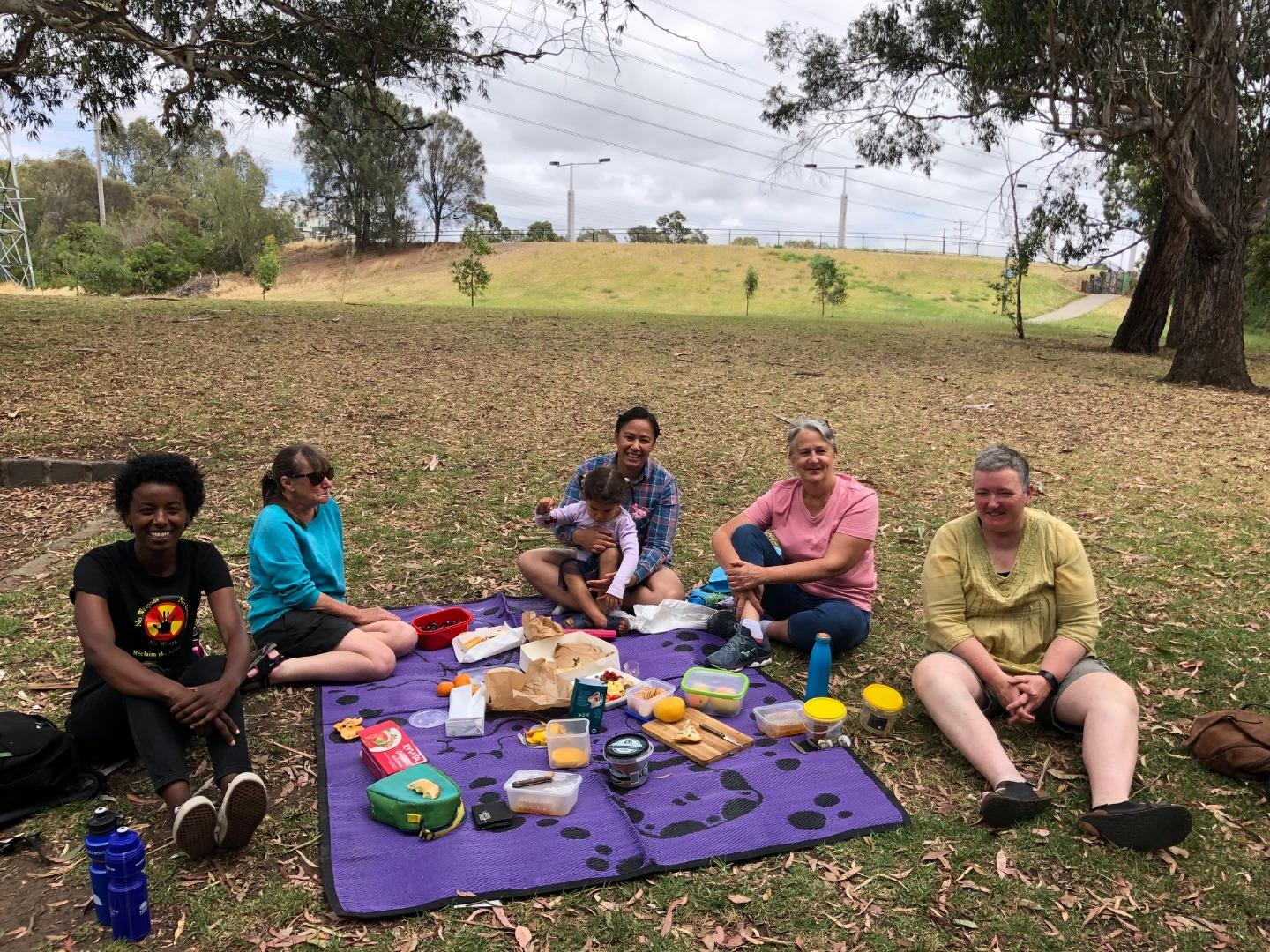 Our crew, having a End of Year morning tea post data collection.