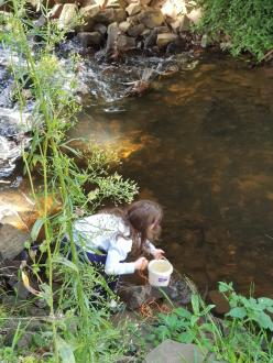 Zoe\'s first time collecting water